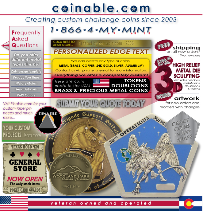 coinable com - custom coins, challenge coins, made to order